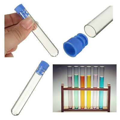 10pcs Medium Rimless Transparent Borosilicate Glass Test Tubes Push Caps 12*75mm