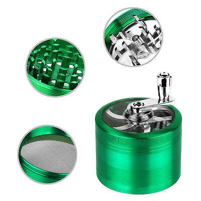 "Herb Grinder Crusher for Tobacco 4 Piece 2.5"" Zinc Alloy Hand Muller Spice Aqua"