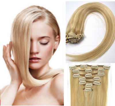 Hot Head Clip In Real Remy Human Hair New Ombre Straight Black Blonde Extensions