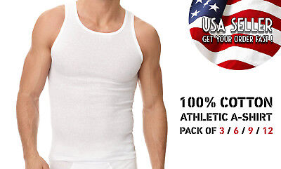 Pack of 3 6 9 12 Mens New A-shirt Undershirt Ribbed Tank Top 100%COTTON Wife Be