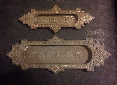 Matched Set Victorian Eastlake Letter And Paper Slots Cast Iron