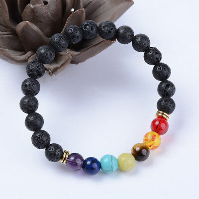 7 Chakra Christal Stones Bracelet Healing Beads Jewellery Natural Reiki Gifts EF