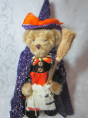 Fall Halloween Decoration Plush Teddy Bear Dressed Up As A Witch Trick-Or-Treat