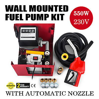 230V  Transfer Fuel Pump Kit With Automatic Nozzle Hose Adaptors Wall Hose Clips