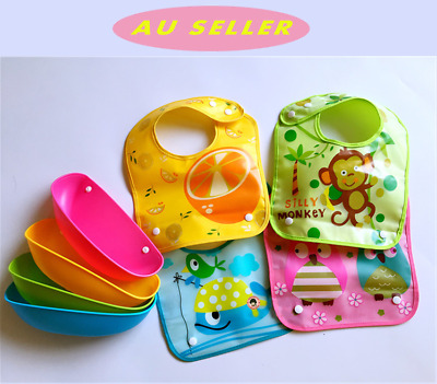 2 PK Infant Baby Feeding Bibs Waterproof silicone Detached Food Catcher Pocket
