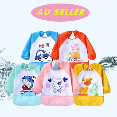 Baby Kids Toddler Long Sleeve Waterproof Art Smock Feeding Bib Apron Pocket
