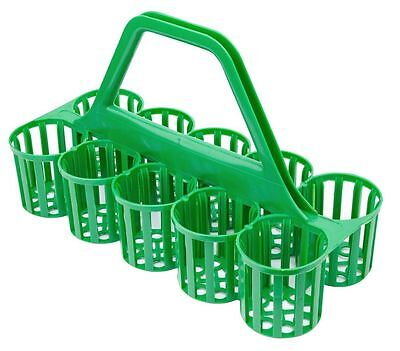 Green Plastic Bottle Carrier/10 Compartments/Glass Collector/Pint Glass