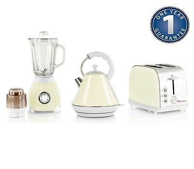 Matching Kitchen Set 1.8L Electric Cordless Kettle Toaster 500W Blender CREAM