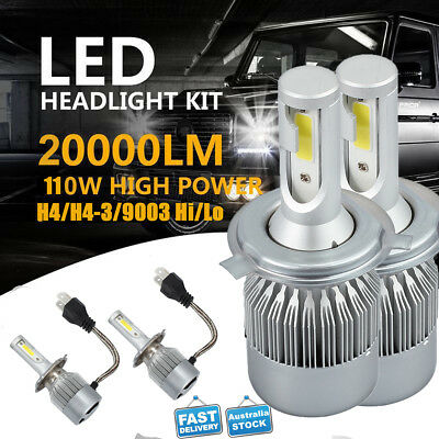 2pc CREE H4 HB2 9003 LED Headlight Kit Light Bulb Hi/Lo 72W 20000LM White 6000K