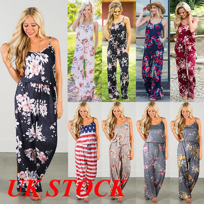 Womens Sleeveless Party Playsuit Ladies Romper Long Floral Jumpsuit Size 6 -22