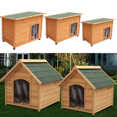 Extra Large Wooden Dog Kennel House Removable Flat Apex Raised Roof Asphalt Cage