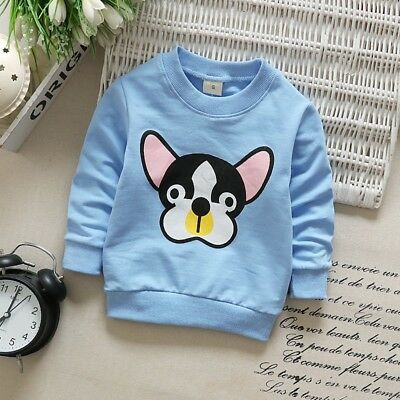 Toddler Kids Baby Boys Girls Long Sleeve Dog Printed T-shirt Tops Blouse 1-3T