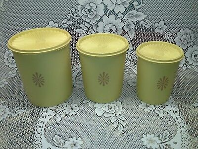 3 pc. yellow canister set, tupperware