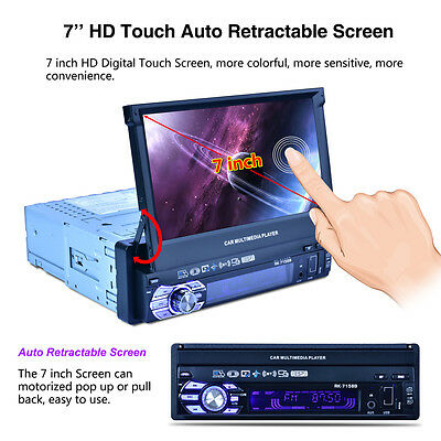 Klapp Touch Screen 7 Zoll 1 DIN Bluetooth Autoradio Video Stereo MP5 USB TF AUX