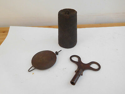 Antique Old American Wall Clock String Drop Weight+ Pendulum And Key