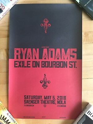 RARE #18/200 Ryan Adams Exile on Bourbon St Concert Poster New Orleans 5/5/18