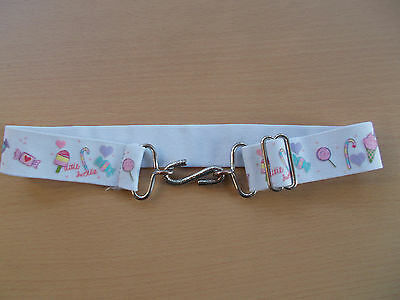 "Girl's elacticated s clip belt - for up to 24"" waist - lice creams and lollipops"