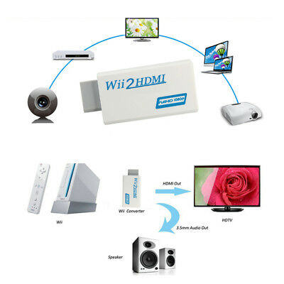 Wii to HDMI Wii2HDMI Full HD FHD 1080P Converter Adapter 3.5mm Audio Output J0K0