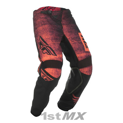2019 Fly Racing Kinetic Noiz Red Black Kid MX Motocross Offroad Race Pants Youth