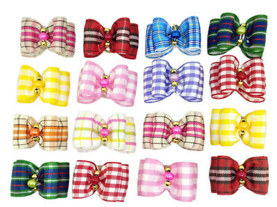 Mixed Dog Cat Plaid Hair Bows W/rubber Bands Puppy Grooming Pet Hair Accessory