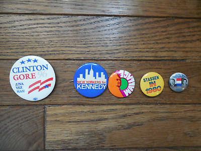Pin Back Presidential Campaign Button President Lot Kennedy Wallace Stassen Gore