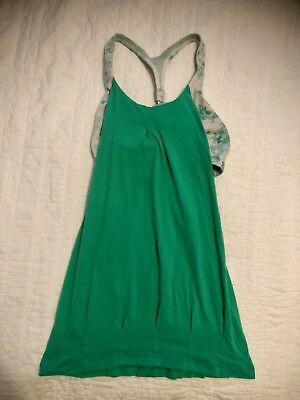 066e969bdfef9 Womens LULULEMON Tank Top With Sports Bra Attached Size 6 Yoga Gym Blue    Green