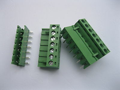 50 pcs Angle 7pin/way 5.08mm Screw Terminal Block Connector Green Pluggbale Type