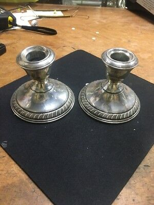 Walling Ford Sterling Silver Candlesticks 16.35 Scrap Ounces Free Shipping