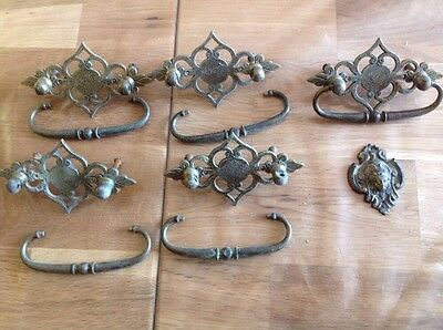 """Vintage Brass Drawer Handles (5) 4x2.5"""" With Pressed Face Embelishment"""