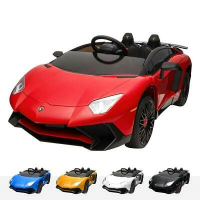 Lamborghini Aventador 12V Kids Electric Ride On Car Leather Seat Soft Eva Tyres