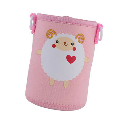 600ml Water Bottle Carrier Sleeve Shoulder Strap Insulated Kids,Pink Sheep