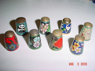Lot Of Eight (8) Painted / Enameled / Cloisonne Metal Thimbles