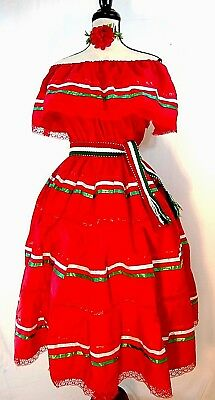 On/Off Shoulder Red Dress Ruffle Mexico Dance Fiesta 5 de Mayo Adelita