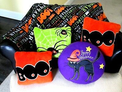 Halloween Fleece Blanket Ghost Spiders Black Cat Plush Throw Pillows 5 Pc Lot