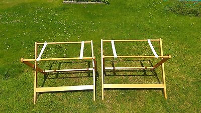 2 X  WOODEN FOLDING TRESTLES  (1 PAIR) /  home/ garden/ extra surface