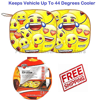 Car Emoji Windshield Sun Shade Twists Universal Ultra Durable 2 Piece Blocks UV