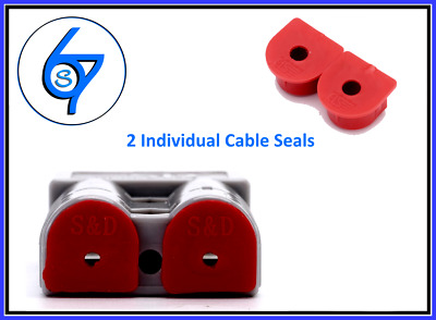 2 x Waterproof Anderson Plug dust cable seal inserts RED Anderson plug caps