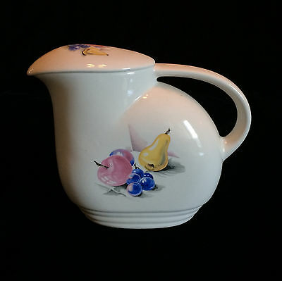 Knowles Utility Ware Refrigerator Jug With Lid Fruits Pattern USA Blue Pink