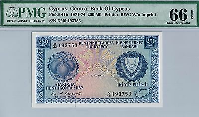 Central Bank of Cyprus. 250 Mils. PMG 66 EPQ Gem Uncirculated. Pick#41b.