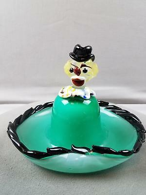 "Vtg Green Murano Glass Clown Center Figural Figurine Ashtray 7"" wide 5"" tall"