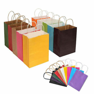 Recyclable 10 Colors Party Bags Kraft Paper Gift Bag With Handle Shop Loot Bag