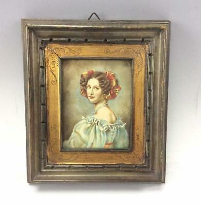 Gorgeous antique portrait miniature on copper. Incredible quality and detail.