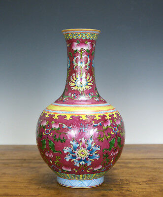 Fine Chinese Famille Rose Carved Ruby Glaze Porcelain Vase