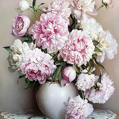 Vase Pink Peony Flower Paint By Number Kit Digital Oil Painting Landscape Canvas