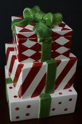 """Ceramic Gift Box Cookie Jar Wrapped Gifts Ribbons and Bow 9.5"""" Tall TII Transpac"""