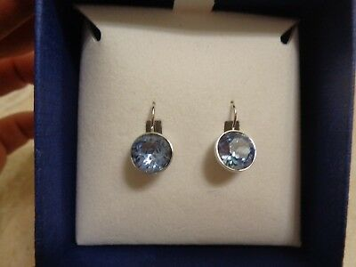 7954e3a0bc20a AUTHENTIC SWAROVSKI MINI Bella Blue Sapphire Crystals Earrings New in Box