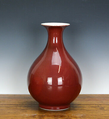 Chinese Red Glazed Sand de Boeuf Oxblood Pear Body Porcelain Vase