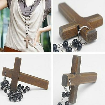 Pendant Necklaces Wooden Cross Necklace Black Beads Pendants Cross Necklace