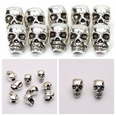 10pcs Antique Tibetan Silver Skull head Spacer Beads Charm Cool Jewelry Findings