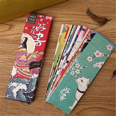 Lot 30pcs Paper Bookmark Vintage Japanese Style Book Marks For Kid supplies